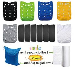 Lilbit 6 Solid Adjustable Baby Cloth Diapers with 6 Pcs Bamb