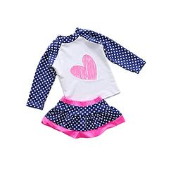 Jasooo Baby Girl Swimsuit Two Pieces Toddler Kid Long Sleeve