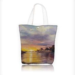 Canvas Beach Bags art oil paint romantic sunset Totes for Wo