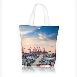 canvas tote bag container terminal at dusk the busy logistic