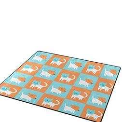 Cute Puppy Dog and Cat Area Rugs Home Decorative Rug Kids Pl