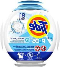 Tide Free and Gentle Laundry Detergent Pods, 81 Count, Unsce