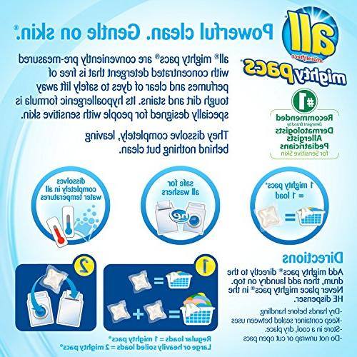 all Mighty Pacs Laundry Detergent, Free Sensitive Skin, Count, 2 Tubs, 134 Loads