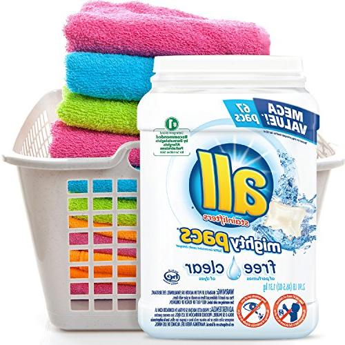 all Mighty Pacs Detergent, Sensitive 67 2 134 Loads