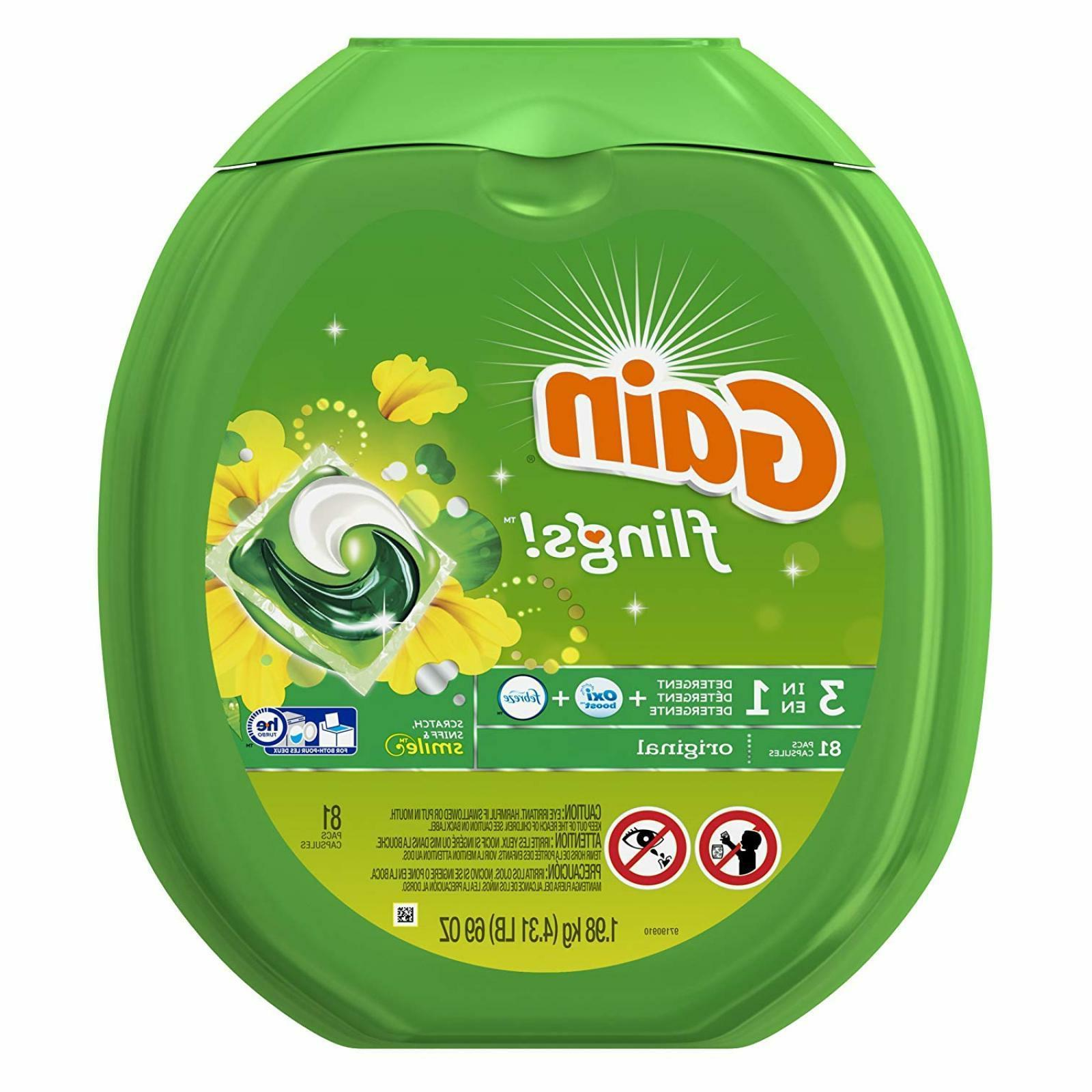 Gain Flings Original Laundry Detergent Pacs Household Cleani