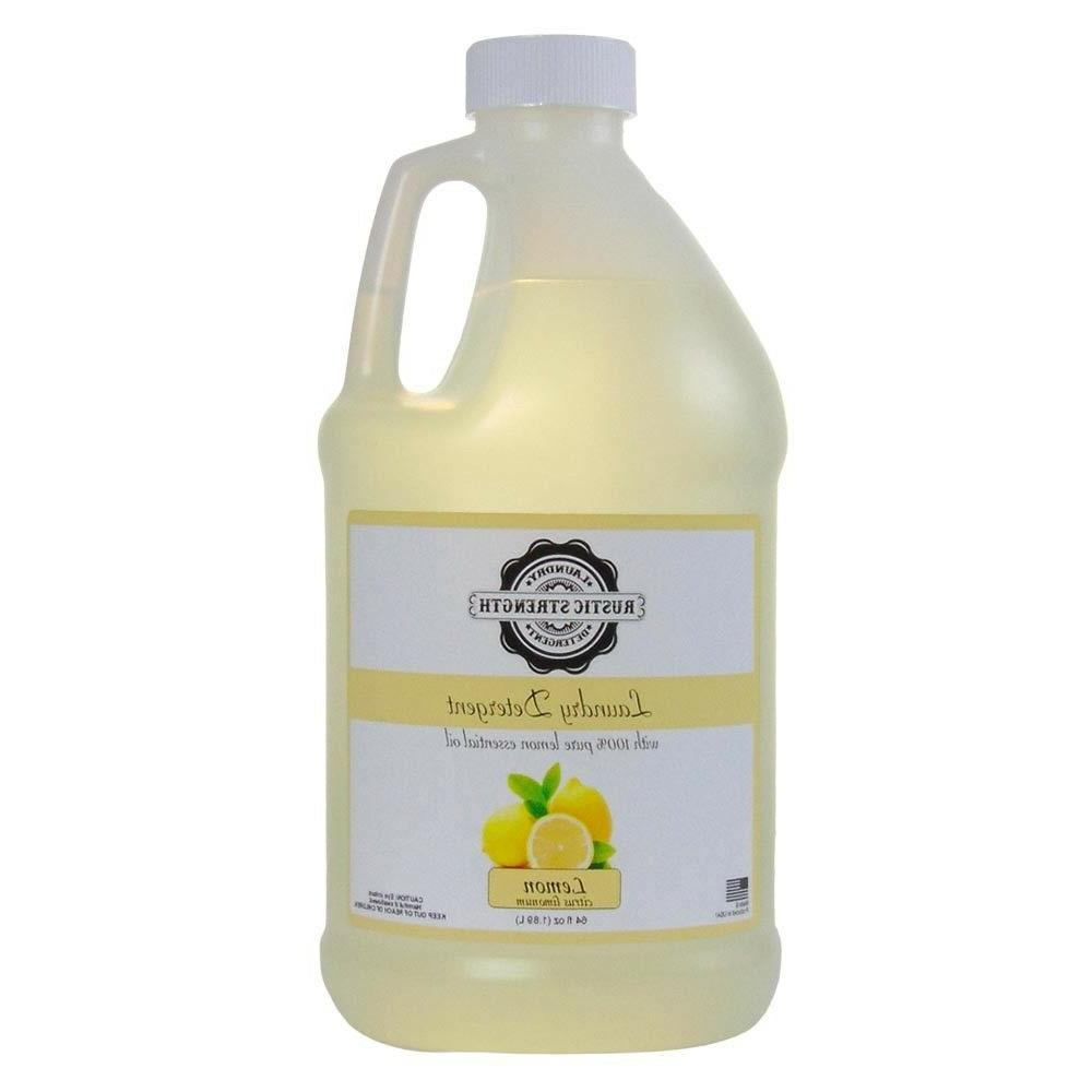 laundry detergent scented with lemon essential oil