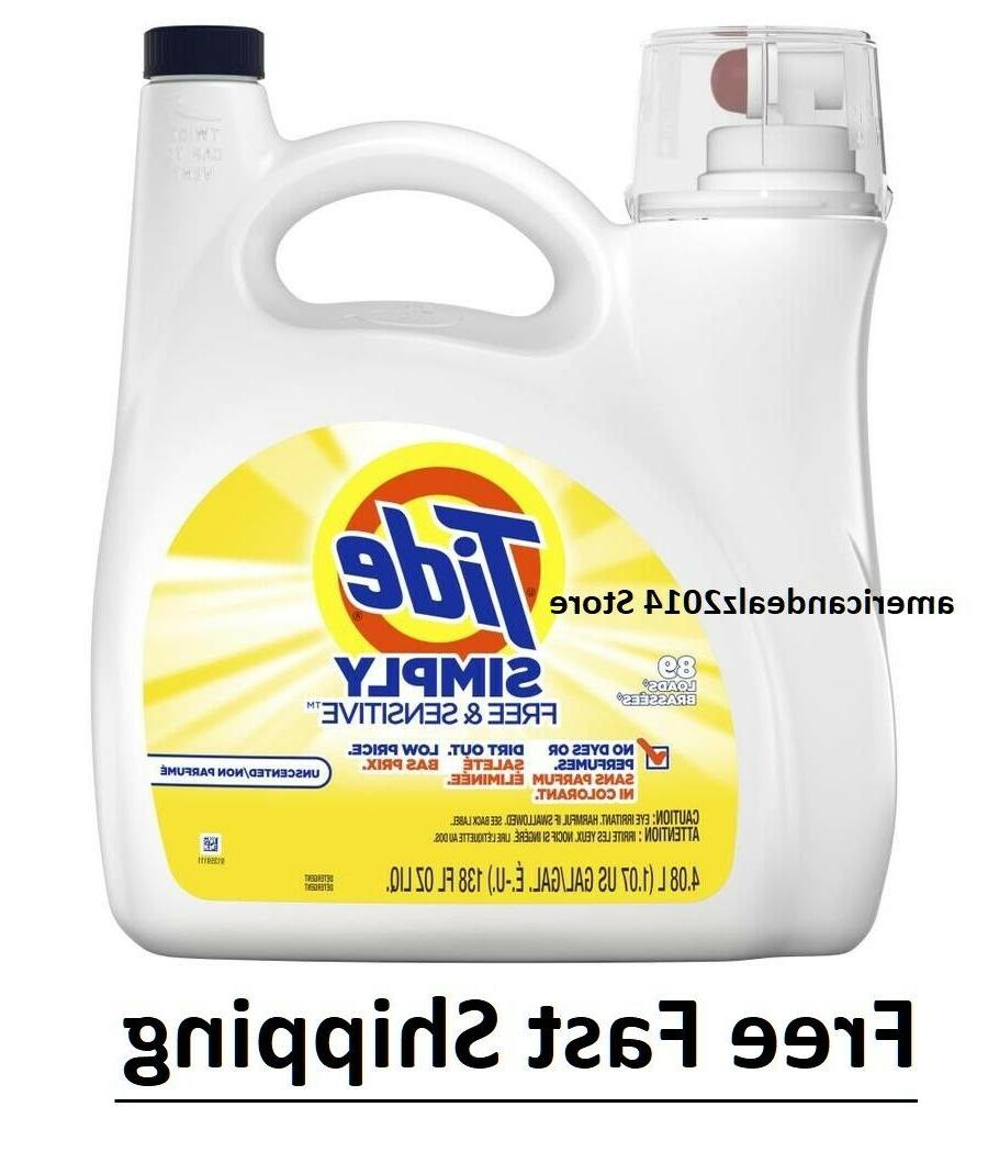 Tide Simply Free and Sensitive Liquid Laundry Detergent, 138