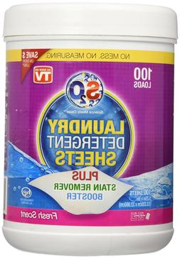 S2O Laundry Detergent Sheets Plus Stain Remover Booster, Fre