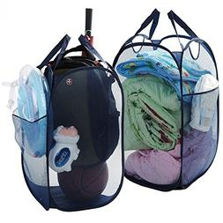 Mesh Laundry Hamper Collapsible Clothes Hamper, Pop Up Tall