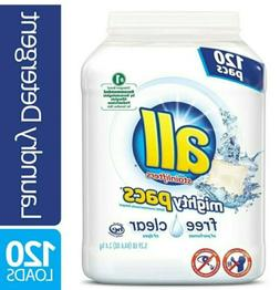 All Mighty Pacs Laundry Detergent Free & Clear Pods 120 ct.