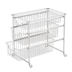 NEX Multipurpose 3-Tiered Utility Cart, Mesh Storage Rolling