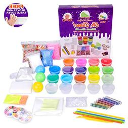 Oh Slime Kit With Table Cover And Supplies - 15x Clear, 3x F