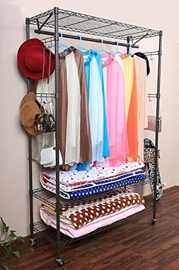 Hindom Free-Standing Closet Garment Rack with Wheels and Sid