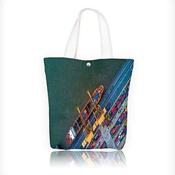 Women's Canvas Tote Bag, view from drone container ship in i