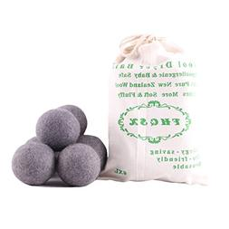 Wool Dryer Balls 6-Pack, Reusable, Saves Drying Time Natural