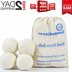 Wool Dryer Balls Organic XL 6-Pack Natural Fabric Softener L